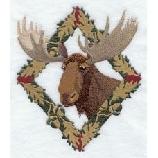 Embroidered Moose in Autumn Leaf Frame E7043